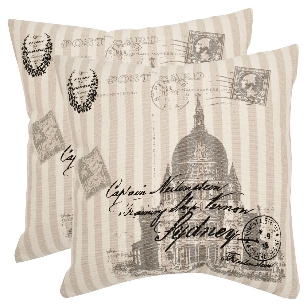 Cheap 2pk 18x18 Lucas Square Throw Pillows Taupe - Safavieh