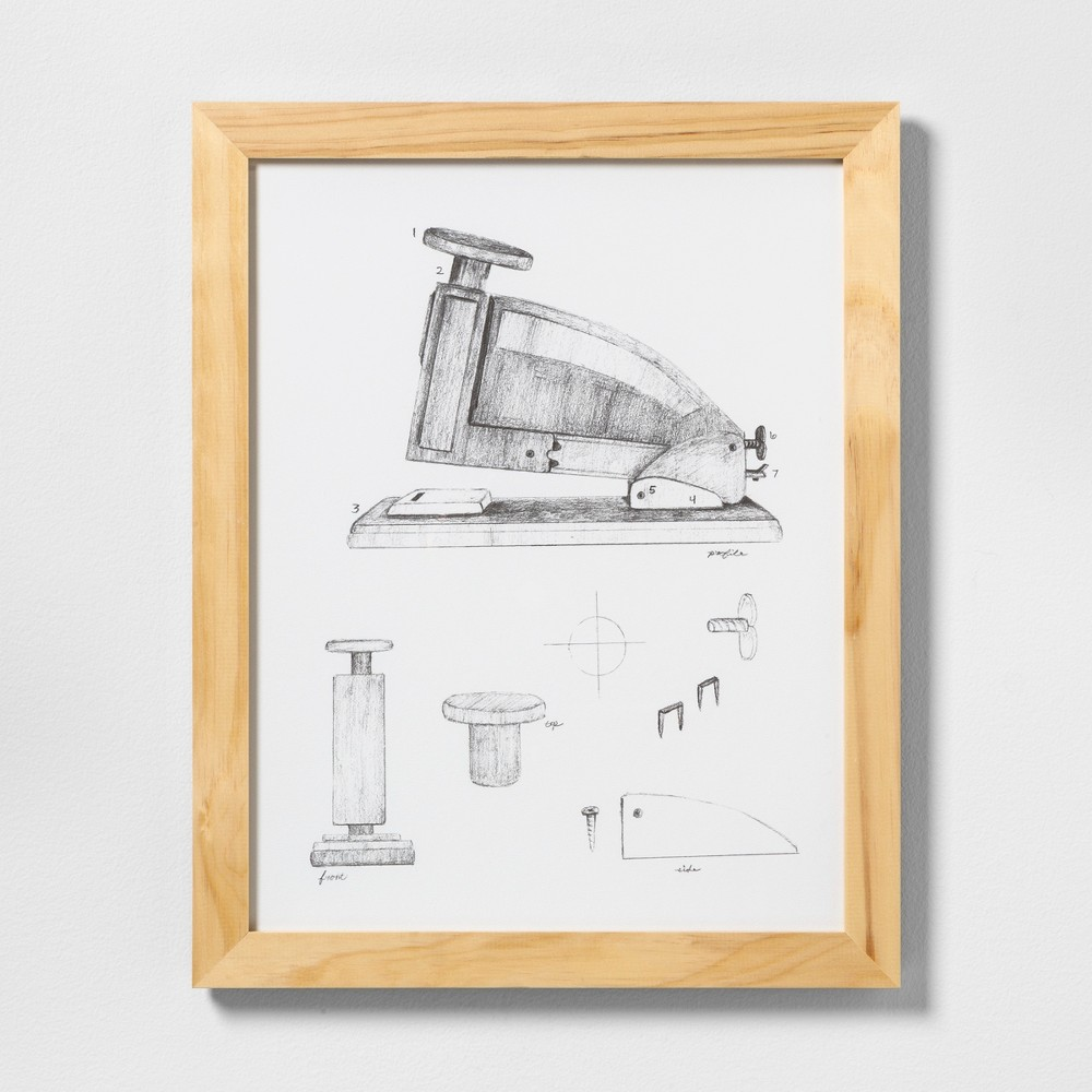 """Image of """"16"""""""" X 20"""""""" Stapler Wall Art with Natural Wood Frame - Hearth & Hand with Magnolia, Adult Unisex"""""""