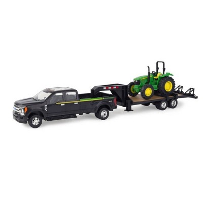 TOMY ERTL - Ford Pickup with Gooseneck Trailer and John Deere Tractor