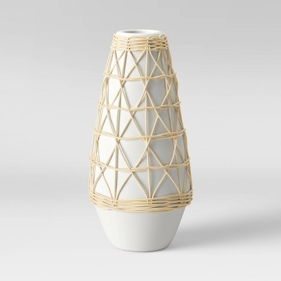 "12"" x 6"" Rattan Ceramic Vase White - Opalhouse™"