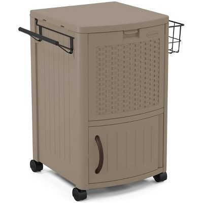 Suncast Portable Outdoor Patio Prep Serving Station Table and Drink Cooler with Convenient Storage for Outside Entertainment, Dark Taupe