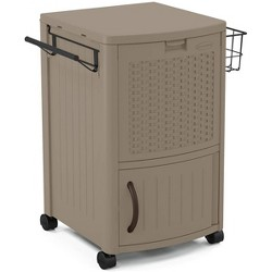 Suncast Portable Outdoor Patio Prep Serving Station Table & Cooler, Dark Taupe