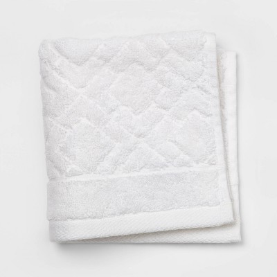Reserve Solid Textured Washcloth White Accent - Fieldcrest®