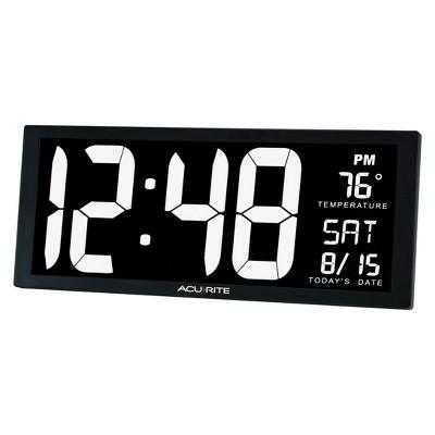"""AcuRite 14.5"""" Digital Clock with Indoor Temperature White"""