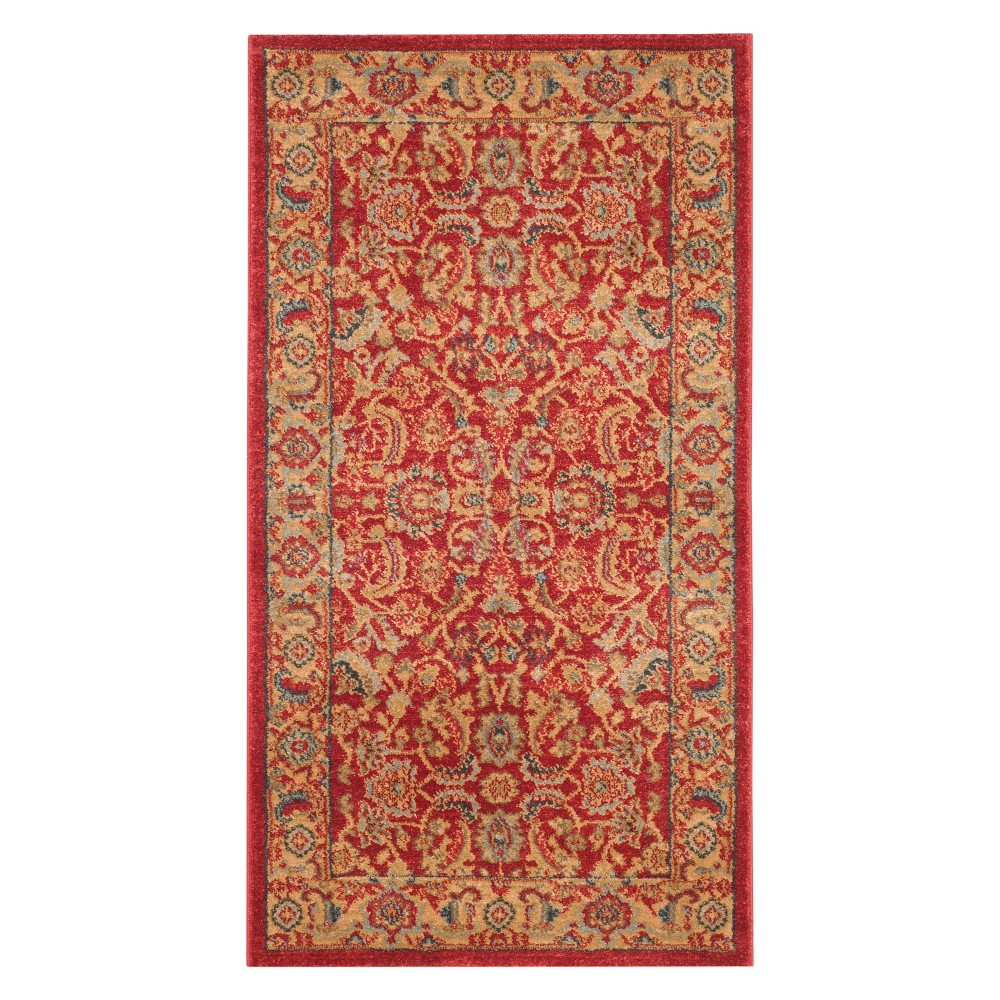 2'2X4' Floral Accent Rug Red/Natural - Safavieh