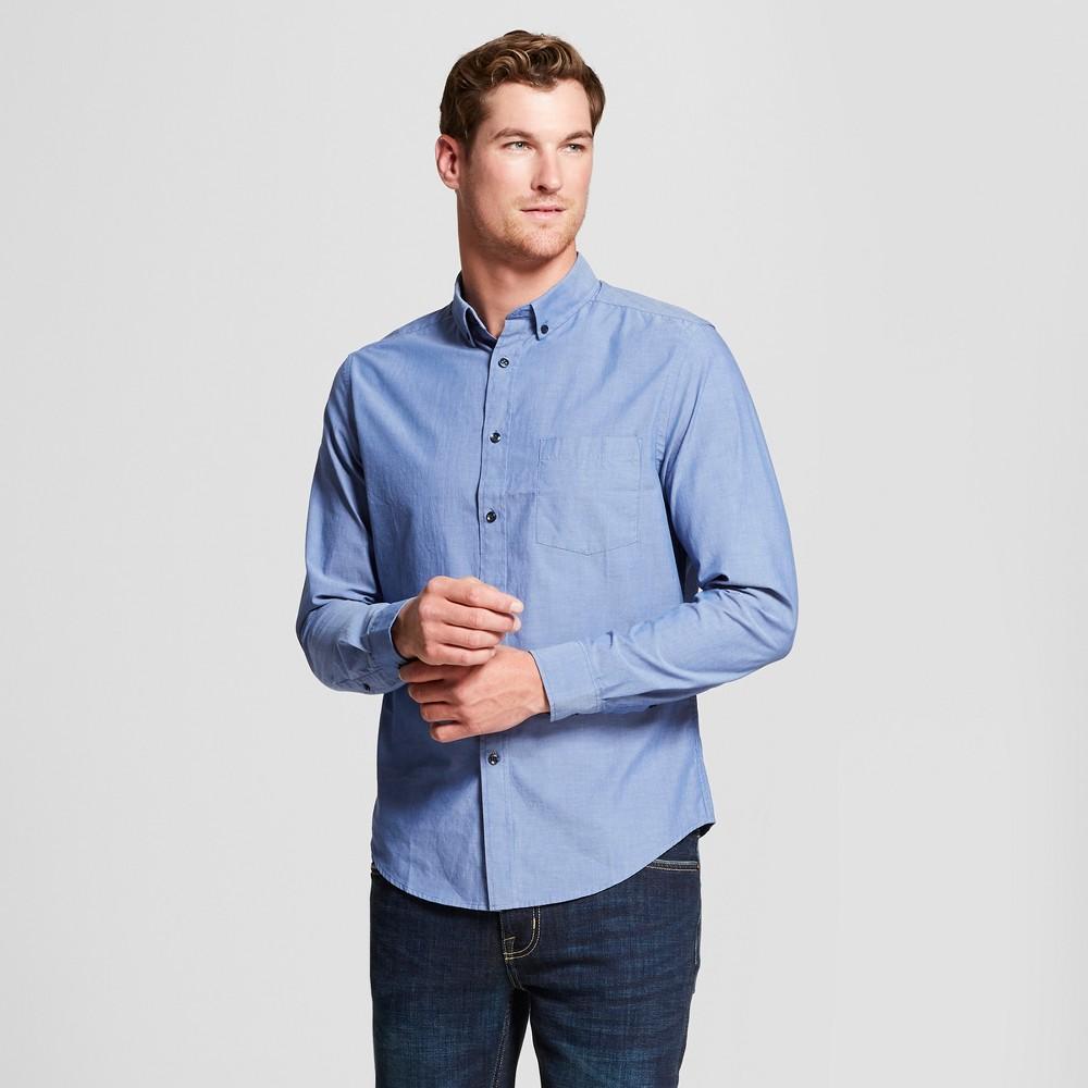 Men's Standard Fit Northrop Long Sleeve Button-Down Shirt - Goodfellow & Co Geneva Blue S
