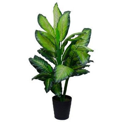 "Northlight 50"" Artificial Wide Leaf Green Dieffenbachia Potted Plant"