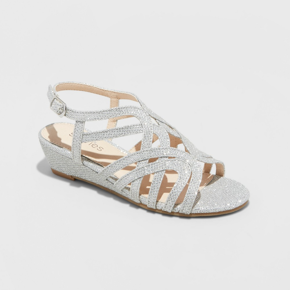 Girls' Stevies #starredd Dressy Ankle Strap Sandals - Silver 13