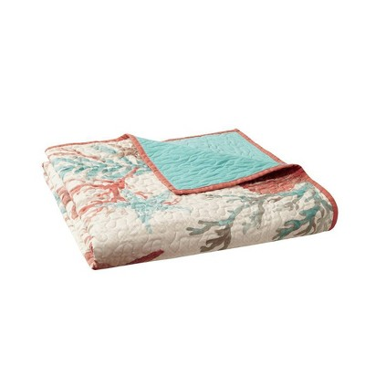 """50""""x70"""" Ocean View Oversized Cotton Quilted Throw Blanket Coral"""