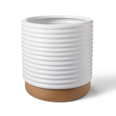 Ribbed Ceramic Stoneware Planter White/Natural - Hilton Carter for Target