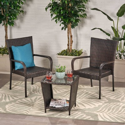 Sarah 3pc Wicker Chat Set - Multibrown - Christopher Knight Home