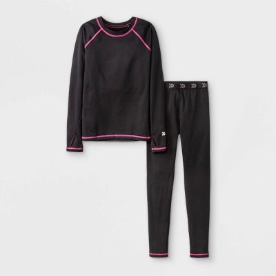 Girls' 2pk Thermal Set Underwear - All in Motion™ Black