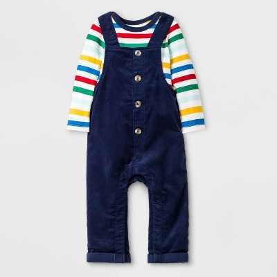 Baby Boys' Cord Overall with Rainbow Bodysuit Set - Cat & Jack™ Blue 0-3M