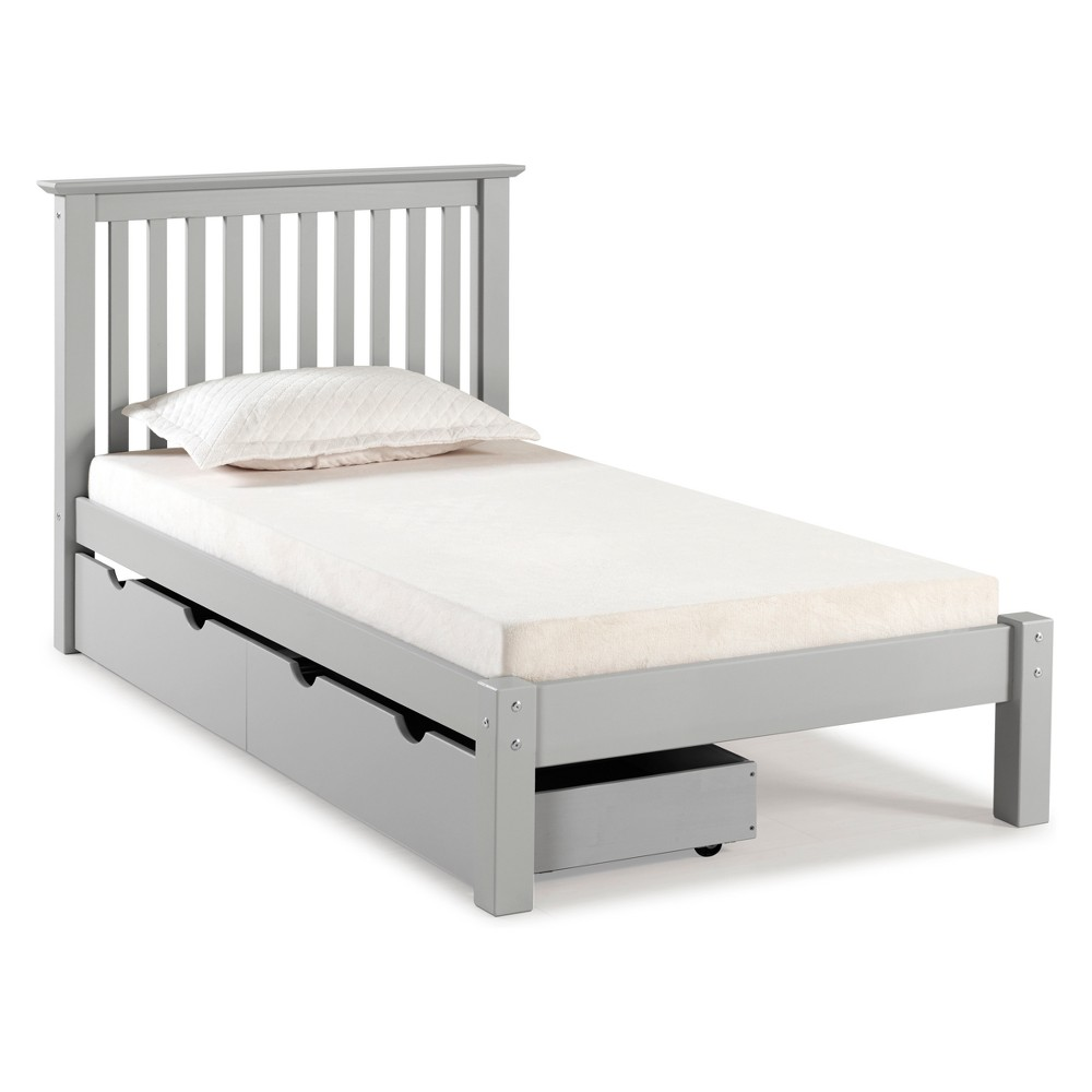 Barcelona Twin Bed With Storage Drawers Dove Gray - Bolton Furniture