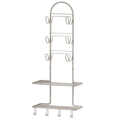 mDesign Metal Bathroom Organizer Shelves with 10 Hooks, Wall Mount