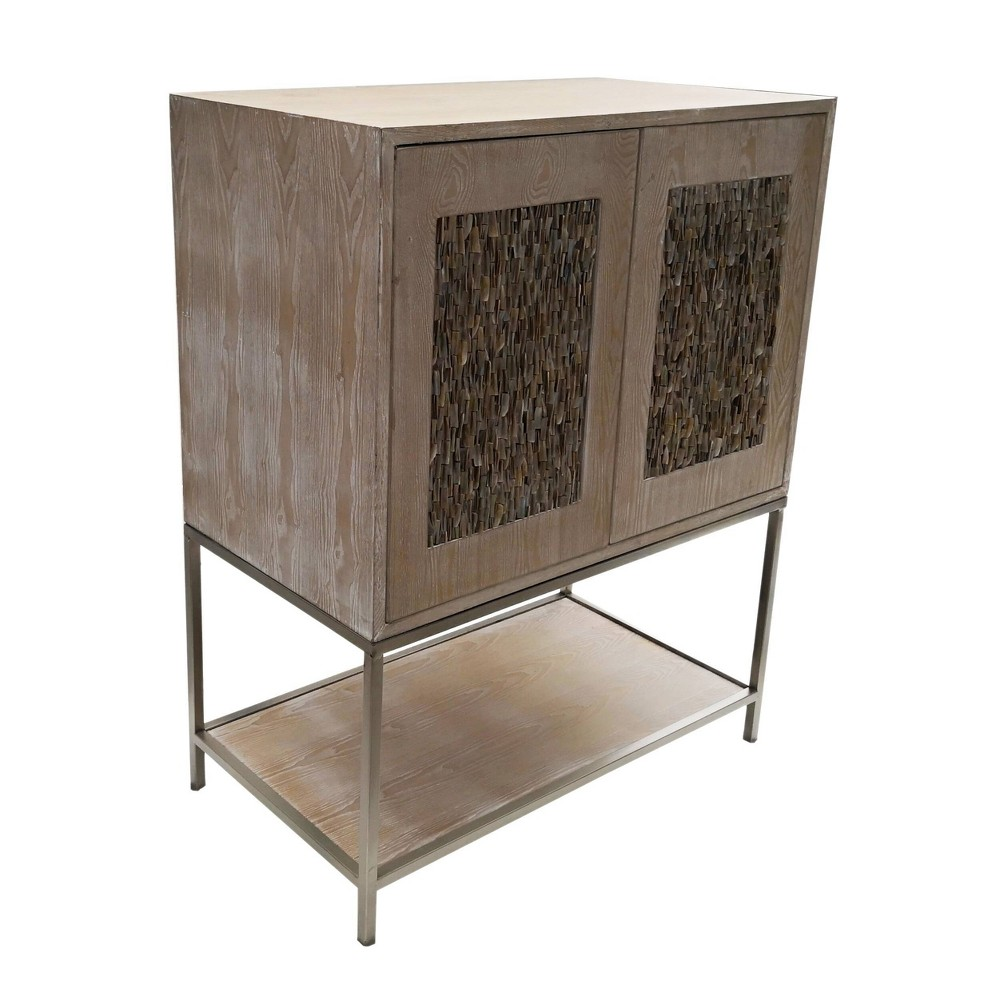 Two Door Wooden Cabinet Natural Champagne A 38 B Home