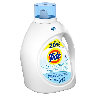 Tide HE Free & Gentle Liquid Laundry Detergent 125 oz