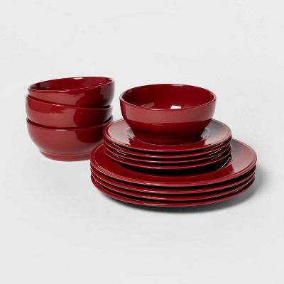 12pc Stoneware Everyday Dinnerware Set Red - Threshold™
