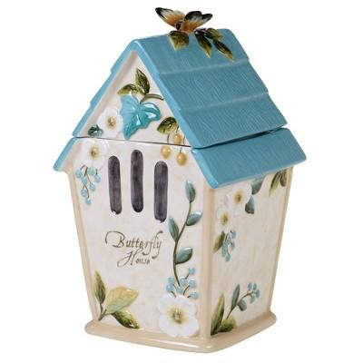 88oz Earthenware Nature Garden Birdhouse Cookie Jar - Certified International