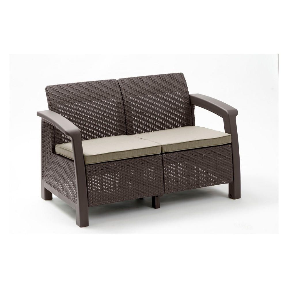 Image of Bahamas Outdoor Resin Patio Loveseat with Cushions Brown - Keter