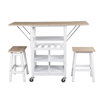 3pc Emery Storage Table and Stools Dining Set White - Decor Therapy