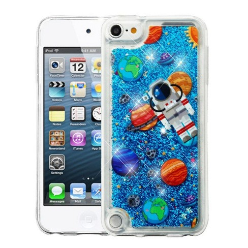 Valor Quicksand Glitter Earth Art Hard Plastic/Soft TPU Rubber Case Cover For Apple iPod Touch 5th Gen/6th Gen, Blue - image 1 of 4