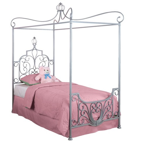 Twin Kinsley Canopy Twin Bed Sparkle Silver - Powell Company : Target