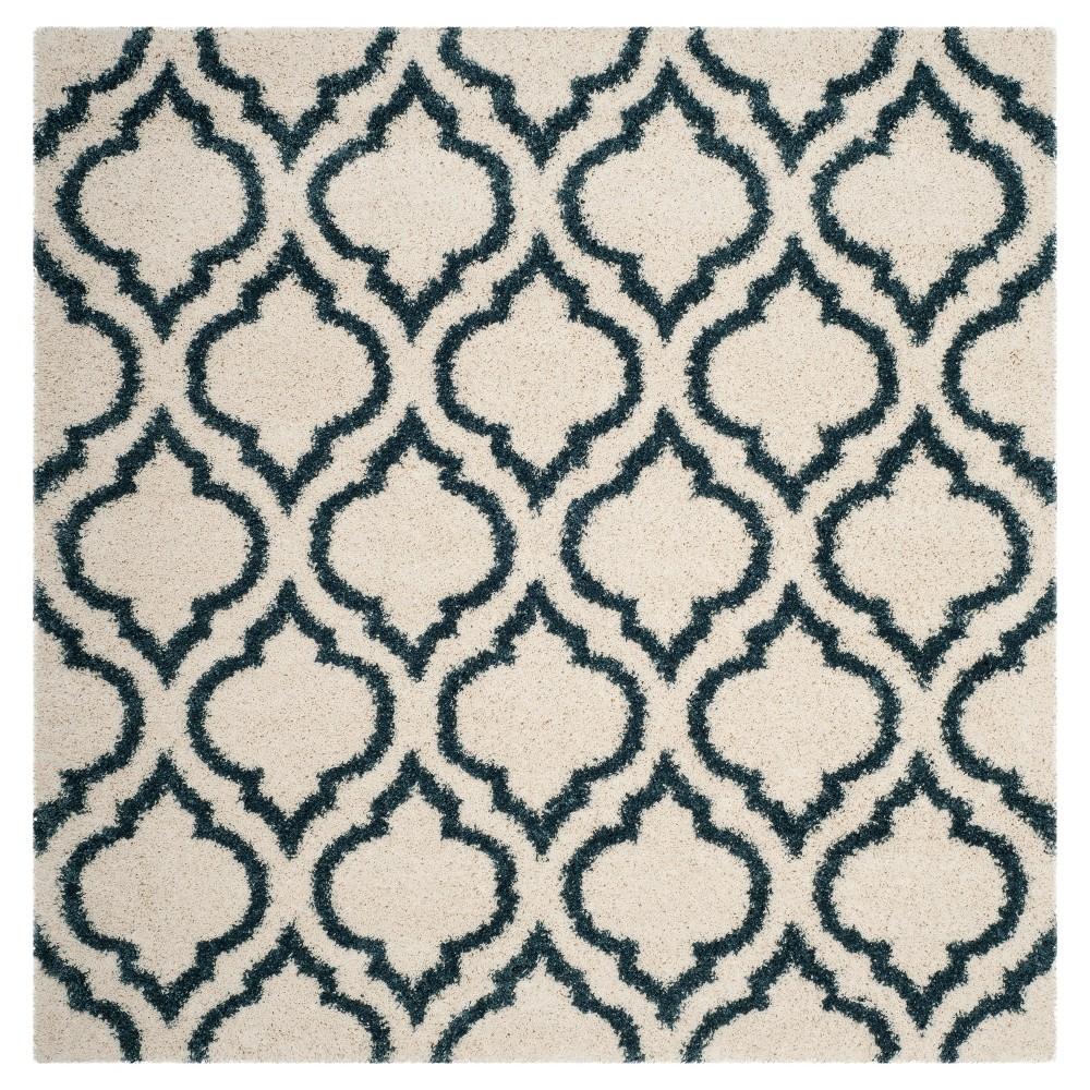 Ivory/Slate Blue Geometric Shag and Flokati Loomed Square Area Rug 7'X7' - Safavieh