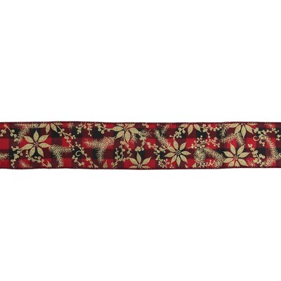 """Northlight Red and Black Buffalo Plaid Christmas Wired Craft Ribbon 2.5"""" x 16 Yards"""
