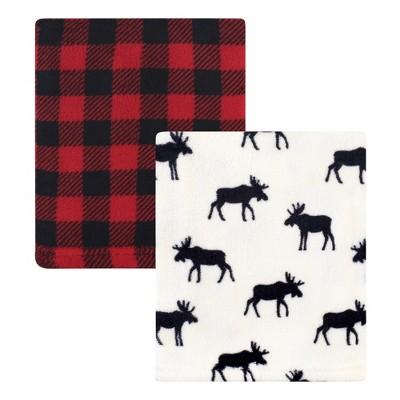 Hudson Baby Infant Boy Silky Plush Blanket, Buffalo Plaid Moose, 30x36 inches
