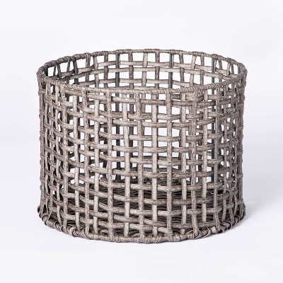 Manmade Rattan Outdoor Basket Gray - Threshold™ designed with Studio McGee