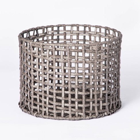 Manmade Rattan Outdoor Basket Gray - Threshold™ designed with Studio McGee - image 1 of 4
