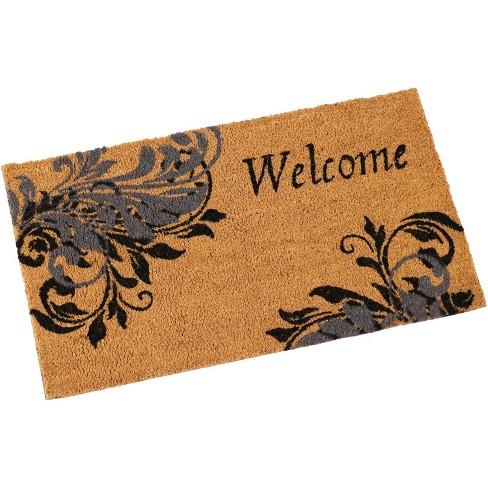 "Sunnydaze Indoor/Outdoor PVC and Coir Decorative Porch Entryway Doormat Rug - 17"" x 29"" - Blue Leaf Scroll - image 1 of 4"