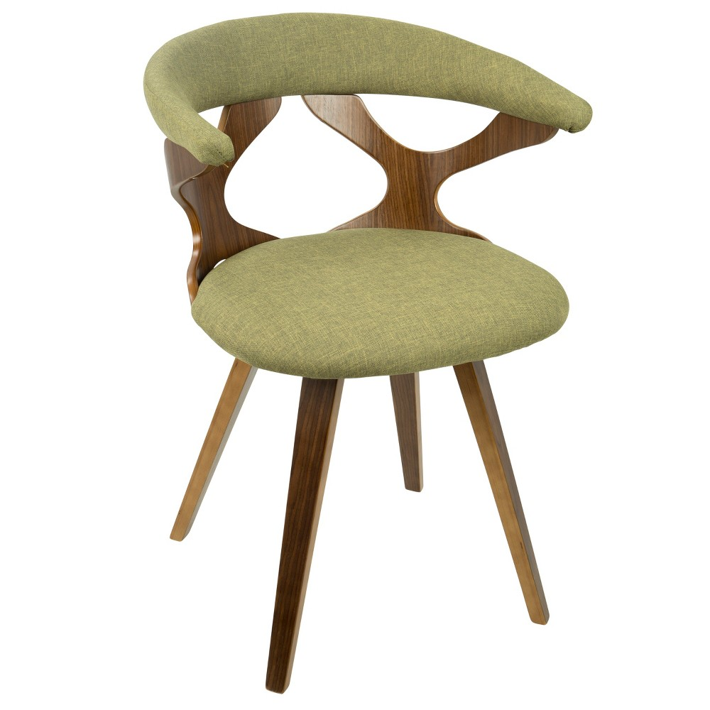 Gardenia Mid-Century Modern Dining/Accent Chair with Swivel Green/Walnut (Green/Brown) - LumiSource