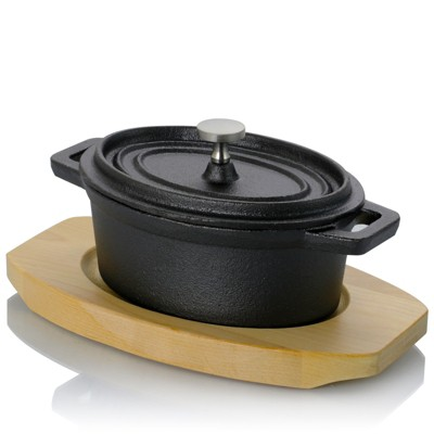 Gibson Home Campton 0.35 Quart Mini Oval Cast Iron Casserole Dutch Oven with Lid and Wooden Base