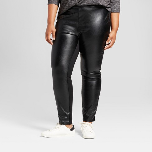 8a09ae0be148a Women s Plus Size Faux Leather Cropped Pants - Ava   Viv™ Black   Target