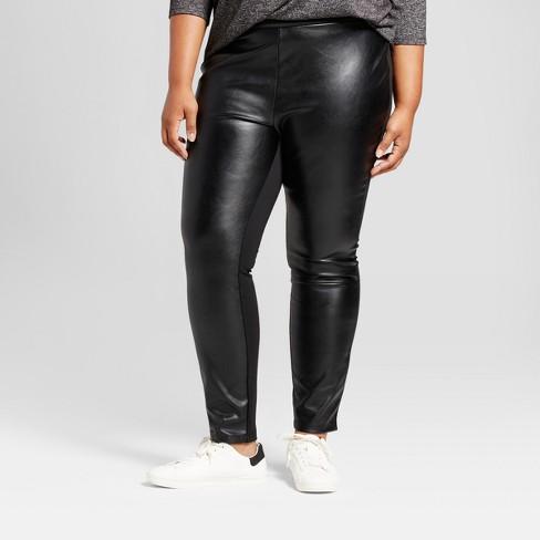 5eba2247e2dd5 Women's Plus Size Faux Leather Cropped Pants - Ava & Viv™ Black : Target