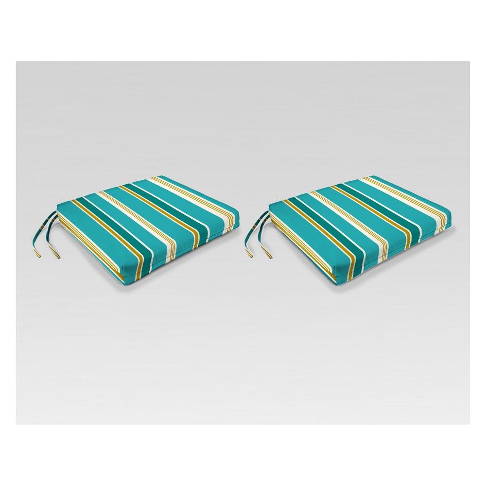 Outdoor Set of 2 French Edge Seat Cushions - Green/Yellow Stripe - Jordan Manufacturing