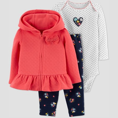 Baby Girls' 3pc Poppy Floral Cardigan Set - Just One You® made by carter's Red 3M