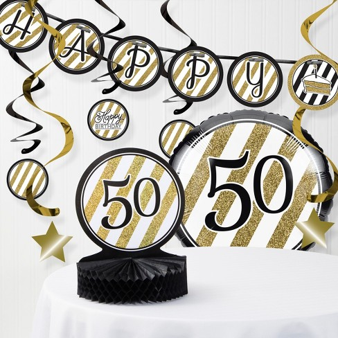 50th Birthday Party Decorations Kit Black Gold Target