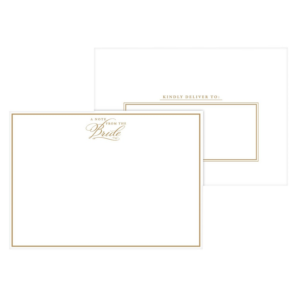 Image of 2ct A Note From the Bride Gold Formal Post Cards