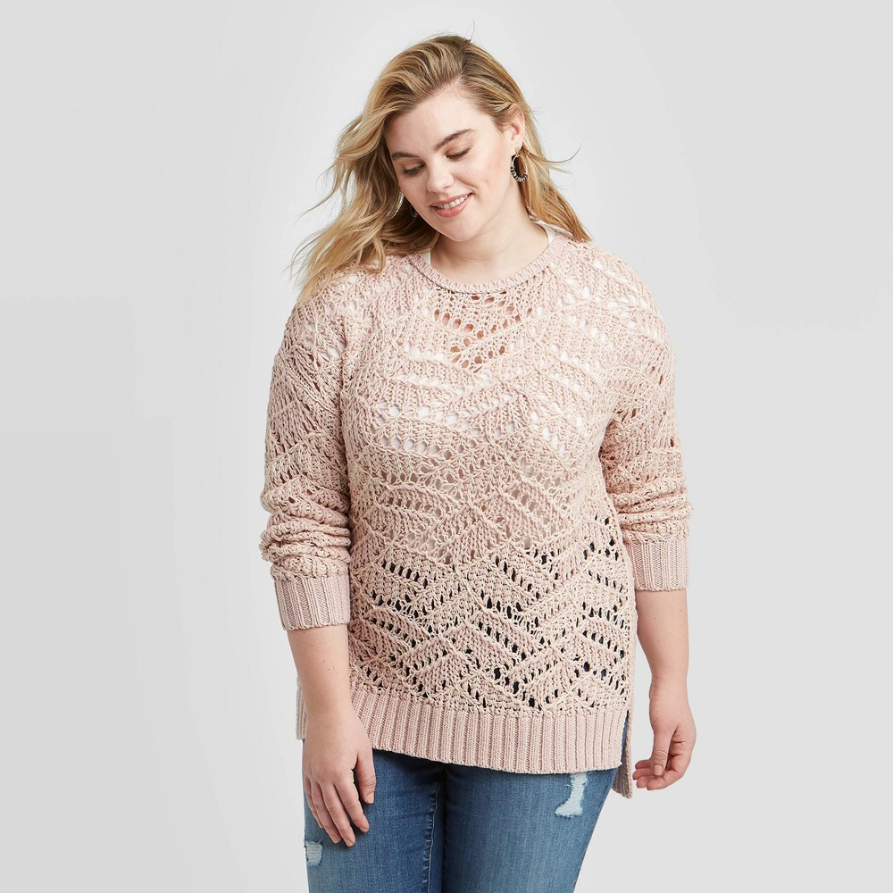 Women's Plus Size Crewneck Open Stitch Tunic Sweater - Universal Thread Pink 4X, Women's, Size: 4XL was $30.0 now $21.0 (30.0% off)