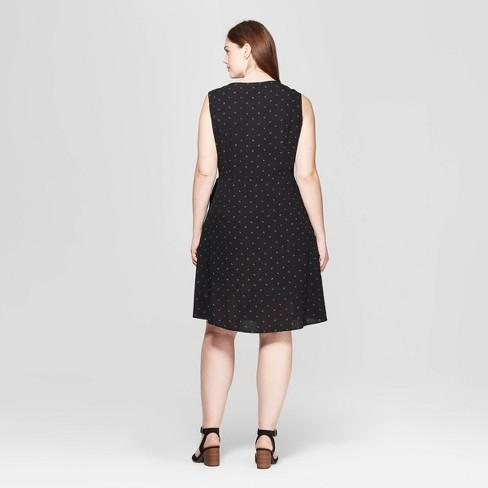 e12c1626556 Women s Plus Size Floral Print Sleeveless V-Neck Wrap Dress - Universal  Thread™ Black