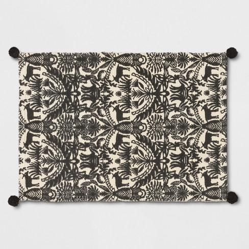 Black White Eulalia Woven Tasseled Accent Rug 2 X3 Opalhouse