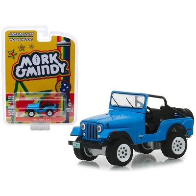 """1972 Jeep CJ-5 Blue """"Mork & Mindy"""" (1978-1982) TV Series """"Hollywood Series"""" Release 23 1/64 Diecast Model by Greenlight"""