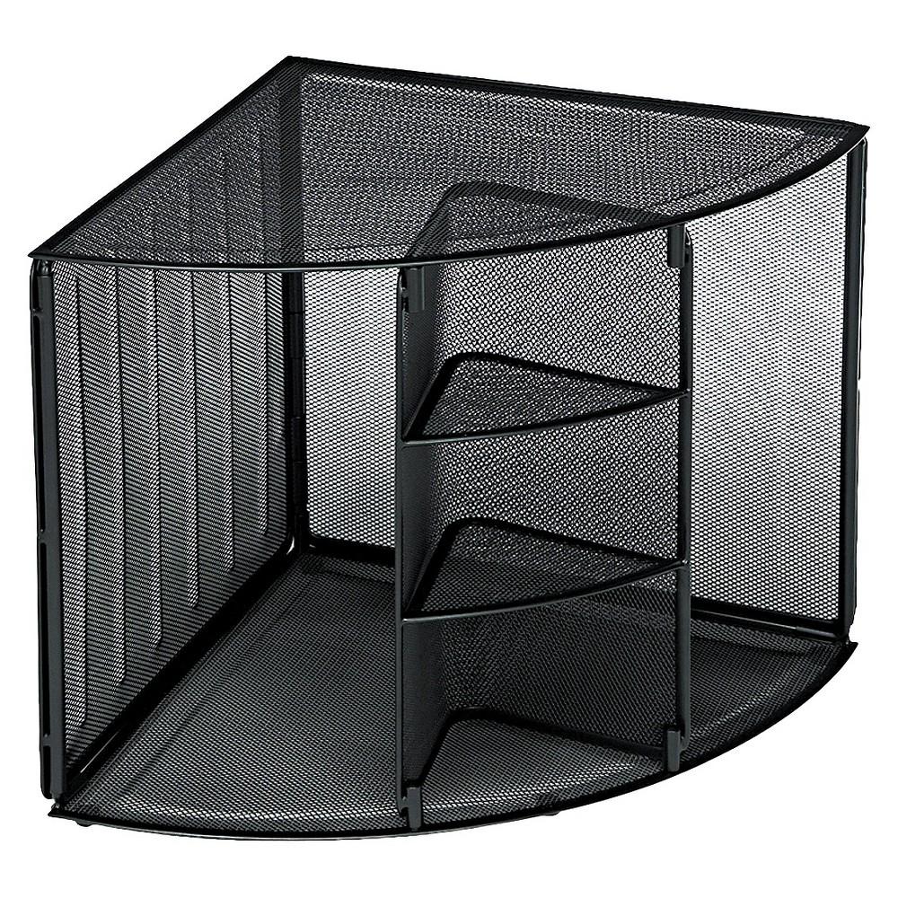 Rolodex Mesh Corner Desktop Shelf, Five Sections, 20 x 14 x 13, Black