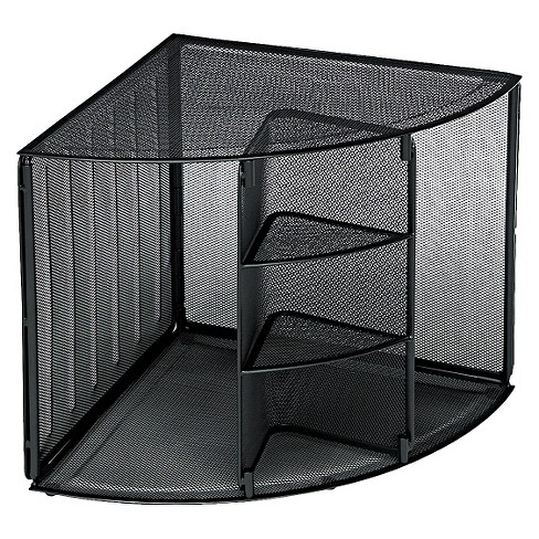 Rolodex™ Mesh Corner Desktop Shelf, Five Sections, 20 x 14 x 13, Black - image 1 of 1