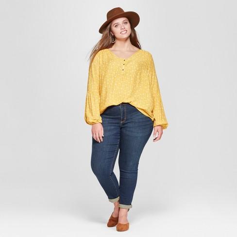 0293a288 Women's Plus Size Long Sleeve Interest Top - Universal Thread Blue 1X