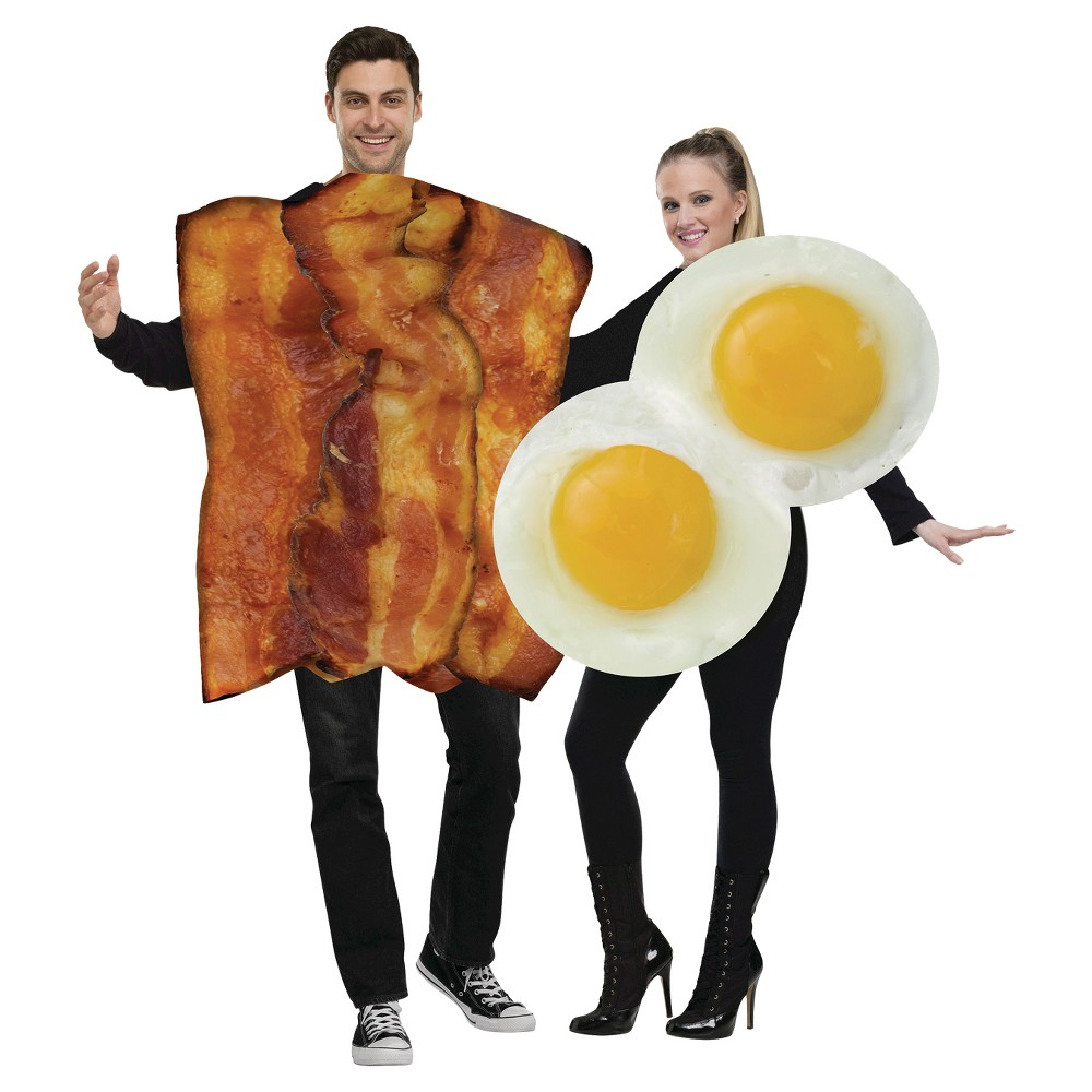 Image of Halloween Adult Bacon and Eggs Couples Costumes One Size (Includes 2 Costumes), Brown