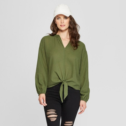 Women's Plaid Long Sleeve Tie Front Top - Universal Thread™ Green XL - image 1 of 3